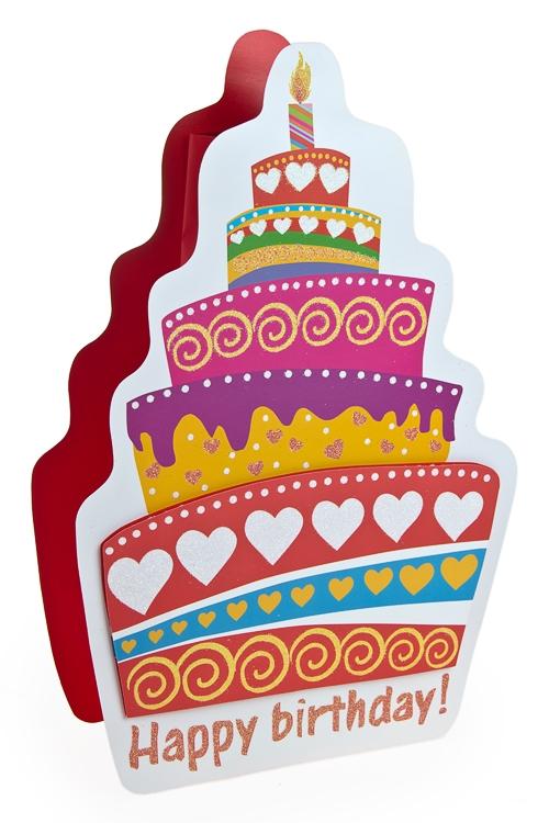 """Пакеты «С Днем рождения» Красный куб Пакет подарочный """"Праздничный торт"""""""