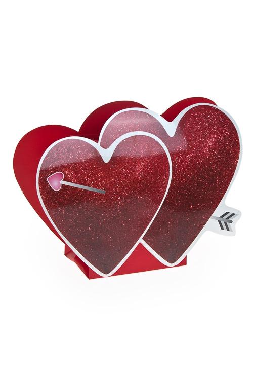 """Пакеты про Любовь Красный куб Пакет подарочный """"Два сердца"""""""