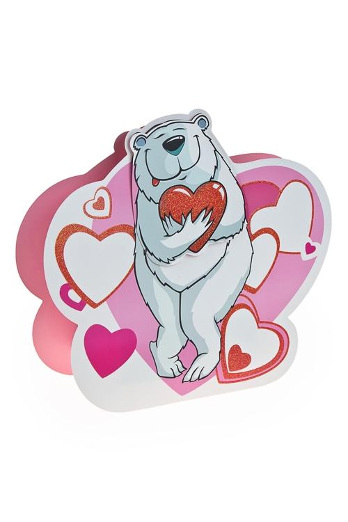 """Пакеты про Любовь Красный куб Пакет подарочный """"Мишка с сердцем"""""""