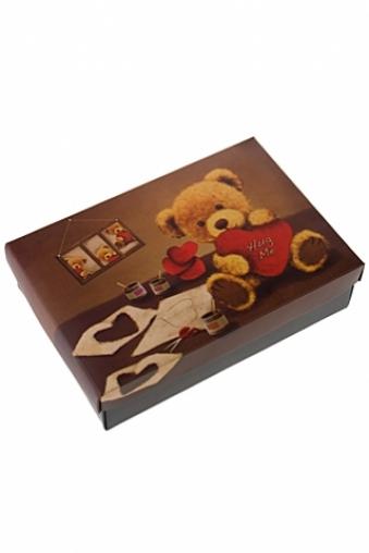 """Узкие подарочные коробки Красный куб Коробка подарочная """"Влюбленный мишка"""""""