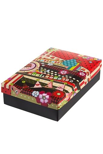 """Узкие подарочные коробки Красный куб Коробка подарочная """"Праздничная мишура"""""""
