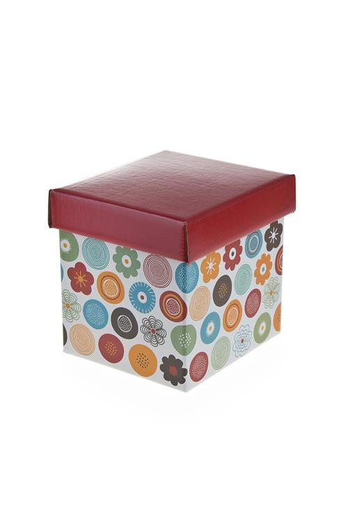 """Квадратные подарочные коробки Красный куб Коробка подарочная """"Цветочный узор"""""""