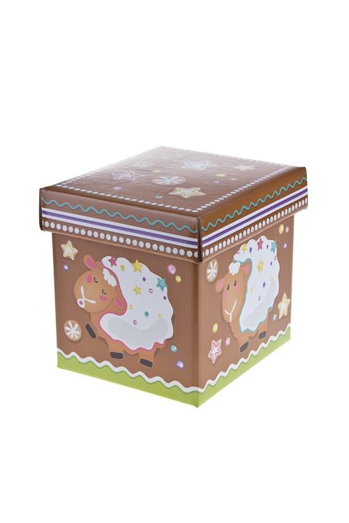 """Квадратные подарочные коробки Красный куб Коробка подарочная """"Пряничная овечка"""""""