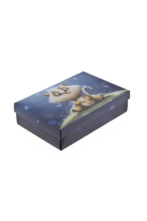 """Узкие подарочные коробки Красный куб Коробка подарочная """"Волшебный котик"""""""