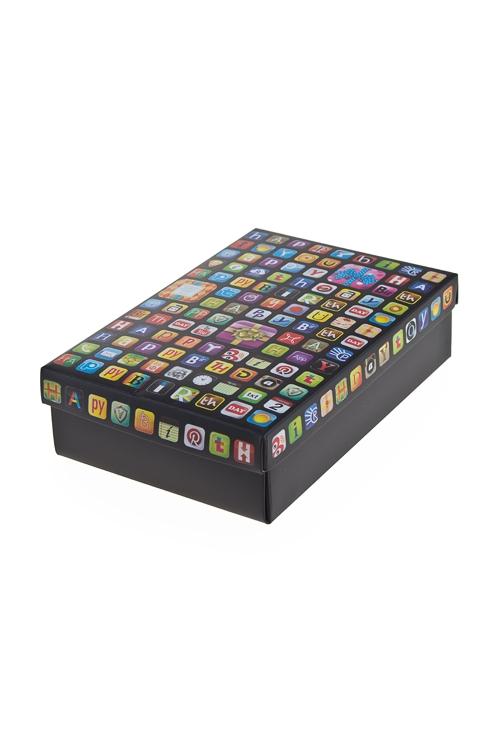 """Узкие подарочные коробки Красный куб Коробка подарочная """"Значки"""""""