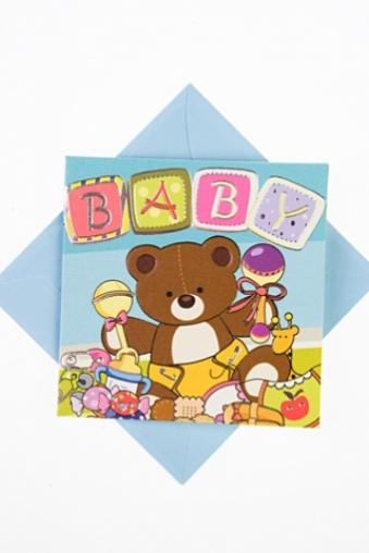 """Открытки «С новорожденным» Красный куб Открытка подарочная """"Мишутка в игрушках"""""""