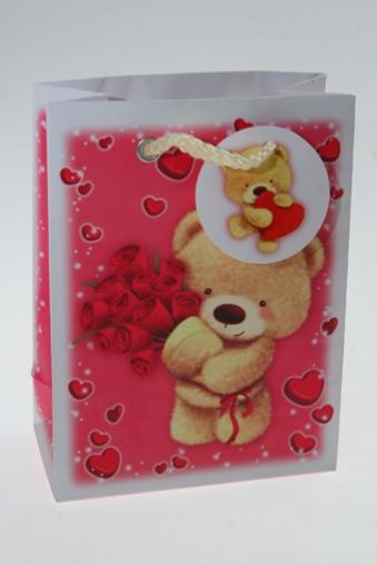 """Пакеты про Любовь Красный куб Пакет подарочный """"Мишка с букетом"""""""