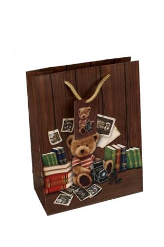 """Пакеты на любой повод Красный куб Пакет подарочный """"Мишка-фотограф"""""""