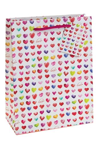 """Пакеты про Любовь Красный куб Пакет подарочный """"Хоровод сердец"""""""