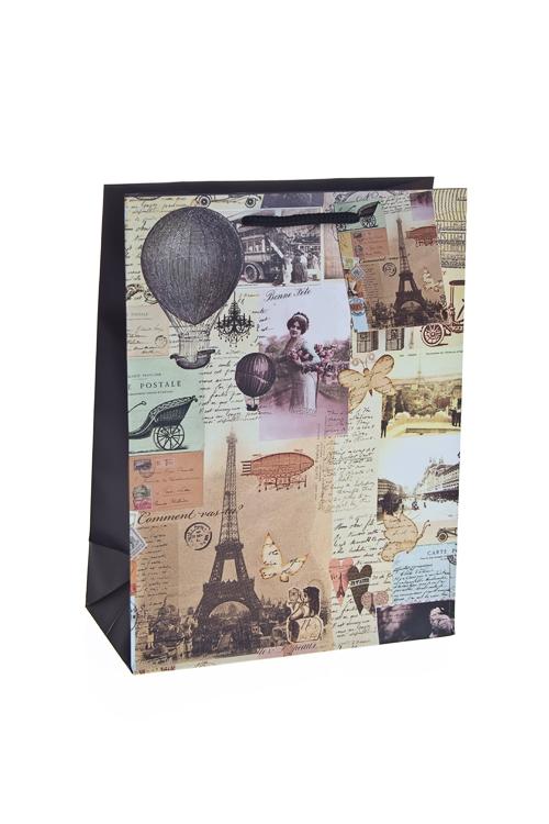 """Пакеты на любой повод Красный куб Пакет подарочный """"Париж"""""""