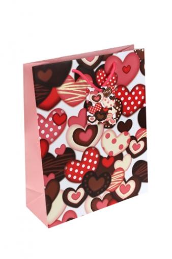 """Пакеты про Любовь Красный куб Пакет подарочный """"Шоколадная любовь"""""""