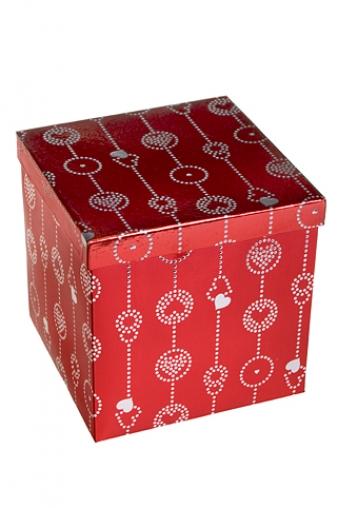 """Квадратные подарочные коробки Красный куб Коробка подарочная """"Гирлянда из сердец"""""""