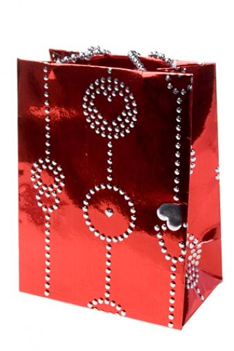 """Пакеты про Любовь Красный куб Пакет подарочный """"Гирлянда из сердец"""""""