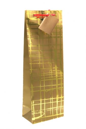 """Пакеты на любой повод Красный куб Пакет подарочный для бутылки """"Золотая сеть"""""""