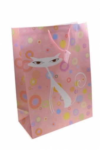 """Пакеты на любой повод Красный куб Пакет подарочный """"Белая кошка"""""""