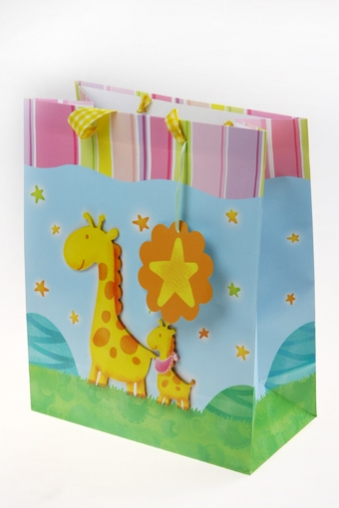 """Пакеты на любой повод Красный куб Пакет подарочный """"Жираф с жирафенком"""""""