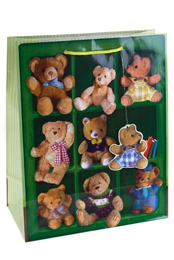 """Пакеты на любой повод Красный куб Пакет подарочный """"Полка с мишками"""""""