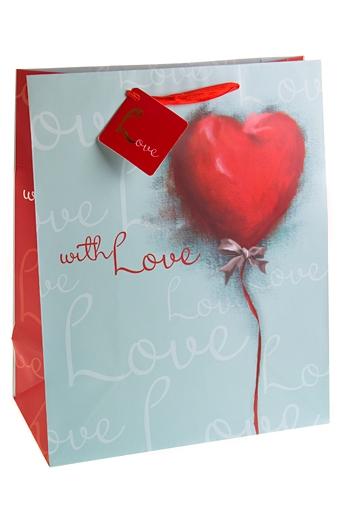 """Пакеты про Любовь Красный куб Пакет подарочный """"Акварельное сердце"""""""