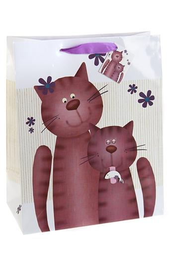 """Пакеты на любой повод Красный куб Пакет подарочный """"Котики"""""""