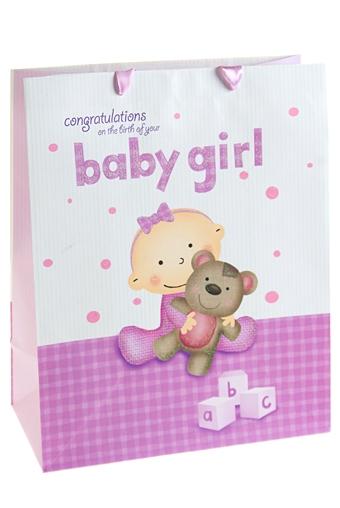 """Пакеты «С новорожденным» Красный куб Пакет подарочный """"Бейби герл"""""""