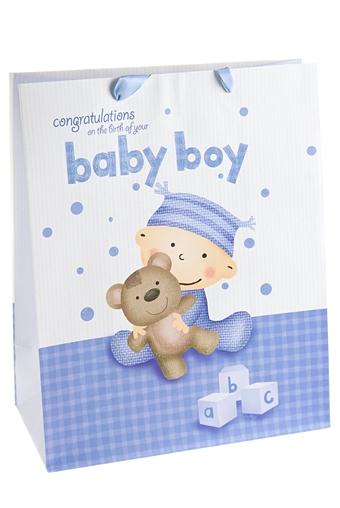 """Пакеты «С новорожденным» Красный куб Пакет подарочный """"Бейби бой"""""""