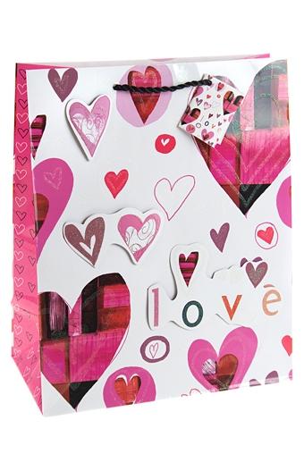 """Пакеты про Любовь Красный куб Пакет подарочный """"Пестрые сердца"""""""