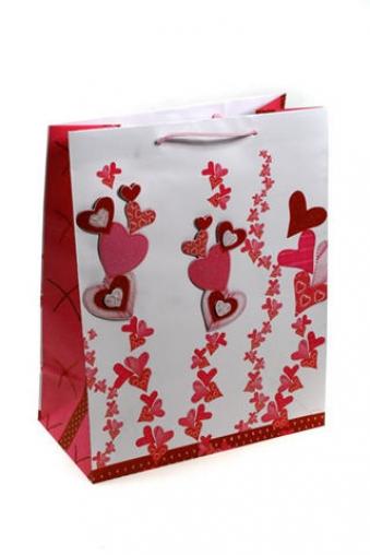 """Пакеты про Любовь Красный куб Пакет подарочный """"Зарождение чувств"""""""