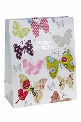 """Пакеты «С Днем рождения» Красный куб Пакет подарочный """"Палитра бабочек"""""""