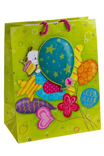 """Пакеты «С Днем рождения» Красный куб Пакет подарочный """"Шарики ко дню рожденья"""""""