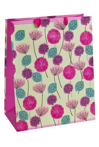 """Пакеты на любой повод Красный куб Пакет подарочный """"Цветочное поле"""""""