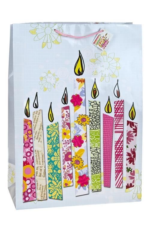 """Пакеты «С Днем рождения» Красный куб Пакет подарочный """"Свечки для торта"""""""