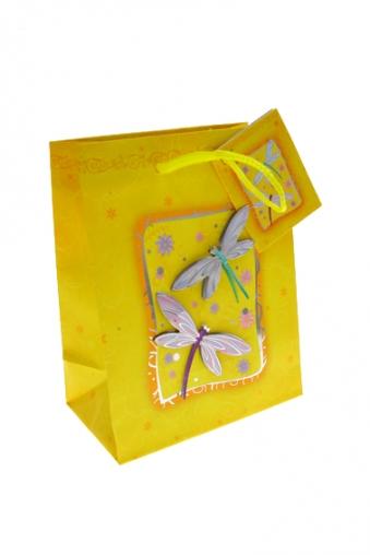 """Пакеты на любой повод Красный куб Пакет подарочный """"Стрекозы"""""""