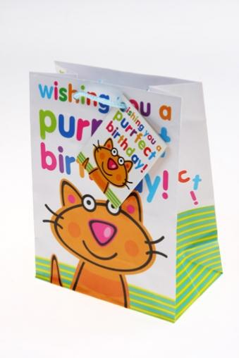 """Пакеты «С Днем рождения» Красный куб Пакет подарочный """"Глазастый котенок"""""""