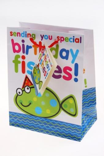 """Пакеты «С Днем рождения» Красный куб Пакет подарочный """"Глазастая рыбка"""""""