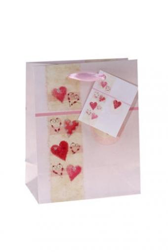 """Пакеты про Любовь Красный куб Пакет подарочный """"Нежные сердца"""""""