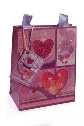 """Пакеты про Любовь Красный куб Пакет подарочный """"Фиолетовые сердца"""""""