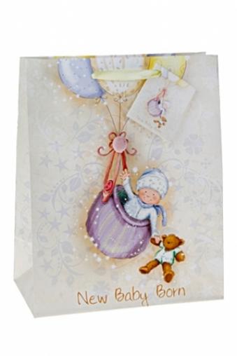 """Пакеты «С новорожденным» Красный куб Подарочный пакет """"Летящий малыш"""""""
