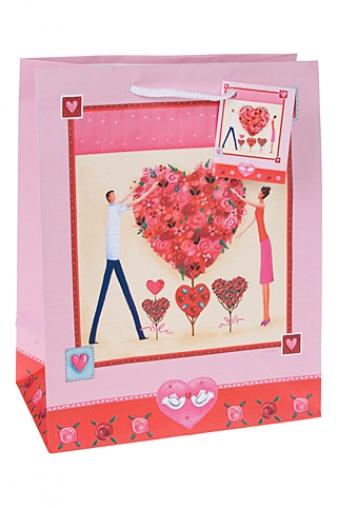 """Пакеты про Любовь Красный куб Подарочный пакет """"От всего сердца"""""""