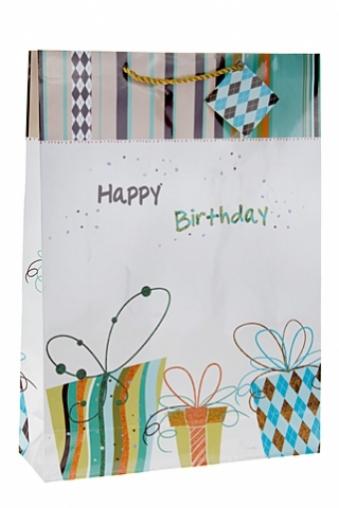 """Пакеты «С Днем рождения» Красный куб Пакет подарочный """"Веселые подарки"""""""