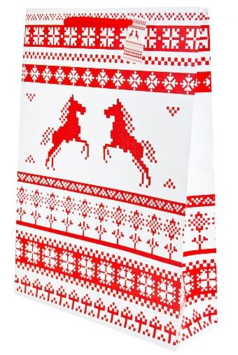 """Пакеты «С Новым годом и Рождеством» Красный куб Пакет подарочный """"Лошадка-3"""""""
