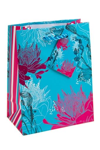 """Пакеты на любой повод Красный куб Пакет подарочный """"Цветы на голубом фоне"""""""