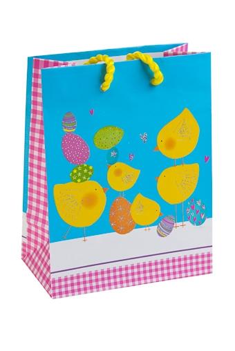 """Пакеты на любой повод Красный куб Пакет подарочный """"Желтые цыплята"""""""