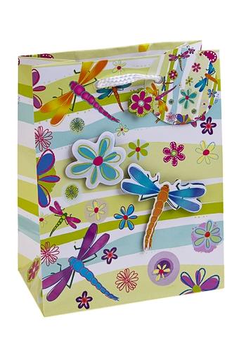 """Пакеты на любой повод Красный куб Пакет подарочный """"Стрекозы и цветы"""""""
