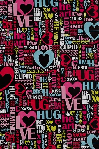 """Упаковочная бумага Красный куб Бумага упаковочная """"Слова любви"""""""