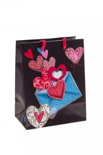 """Пакеты про Любовь Красный куб Пакет подарочный """"Сердца в конверте"""""""