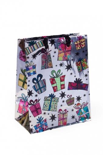 """Пакеты на любой повод Красный куб Пакет подарочный """"Звездопад подарков"""""""