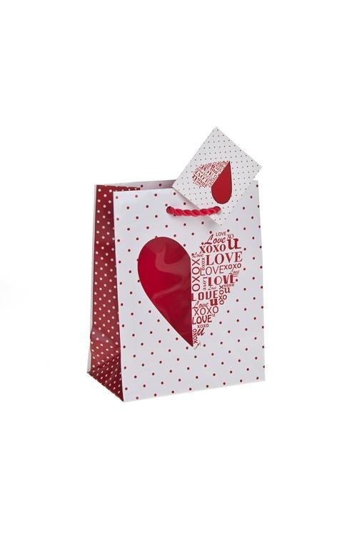 """Пакеты про Любовь Красный куб Пакет подарочный """"Шелковое сердце"""""""