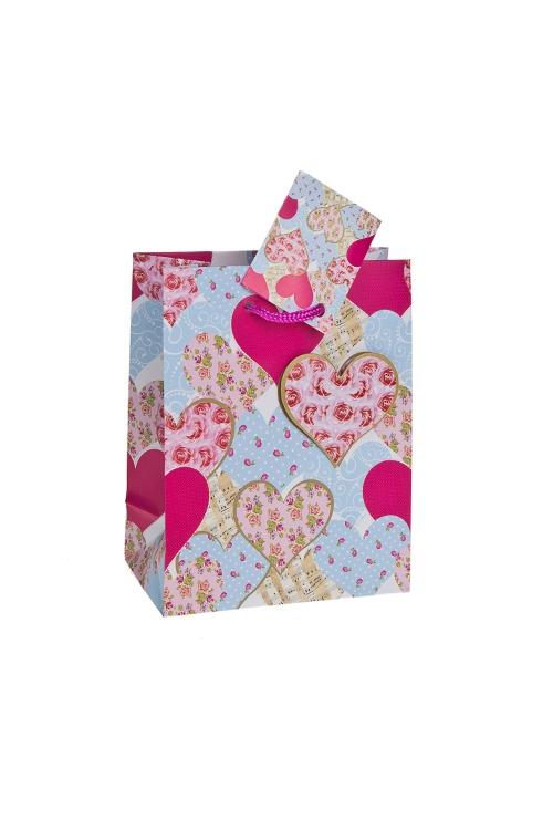 """Пакеты про Любовь Красный куб Пакет подарочный """"Розы в сердцах"""""""