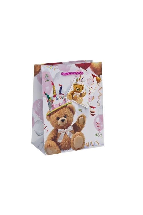 """Пакеты «С Днем рождения» Красный куб Пакет подарочный """"Поздравление от мишки"""""""