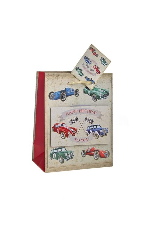 """Пакеты «С Днем рождения» Красный куб Пакет подарочный """"Раритетные машины"""""""